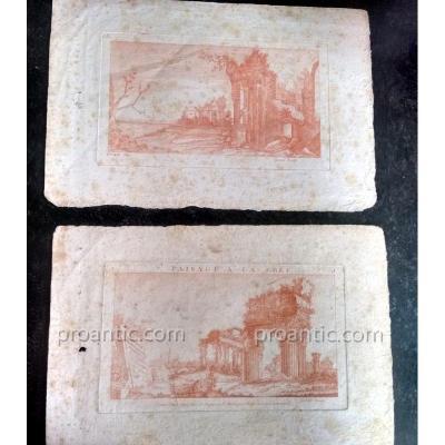 Suite de deux gravures eau-forte à la sanguine Ruines antiques Crepy à Paris XVIIIème 1750