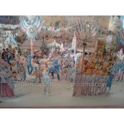 Rare diorama représentant la fête foraine du Parc de Saint-Cloud vers 1880