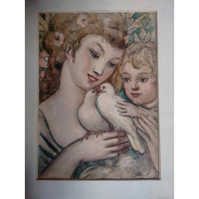 Maternité à l'aquarelle d'époque Art déco  datée de 1936 représentant une mère et son enfant