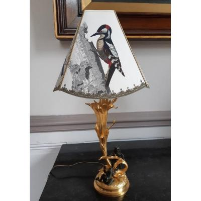 Lampe With Frogs Charles Ferville Suan French Sculptor
