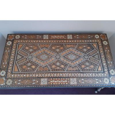 Syrian Oriental Game Table In Micromosaic Mosaic Of Wood, Bone And Mother-of-pearl