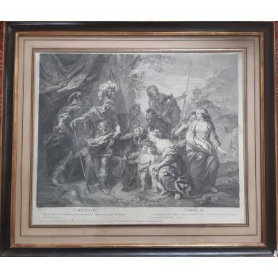 Gravure Coriolan par H. Simon Thomassin d'après un tableau peint par Charles de la Fosse