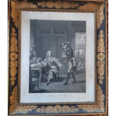 """Gravure Frédéric II """" le Grand """" roi de Prusse avec Voltaire à Potsdam début XIXème"""