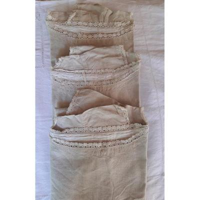 3 Old Natural Linen Shirts Bordered With Lace