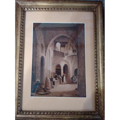 Charles-théodore Frère (Paris 1814 – 1888) Intérieur d'Un Khan Au Caire, Dessin Orientaliste