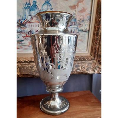 Ancien Vase à l'Antique En Verre soufflé églomisé Mercurisé Décor Gravé De Végétation, Dindon Et Canard XIXème siècle