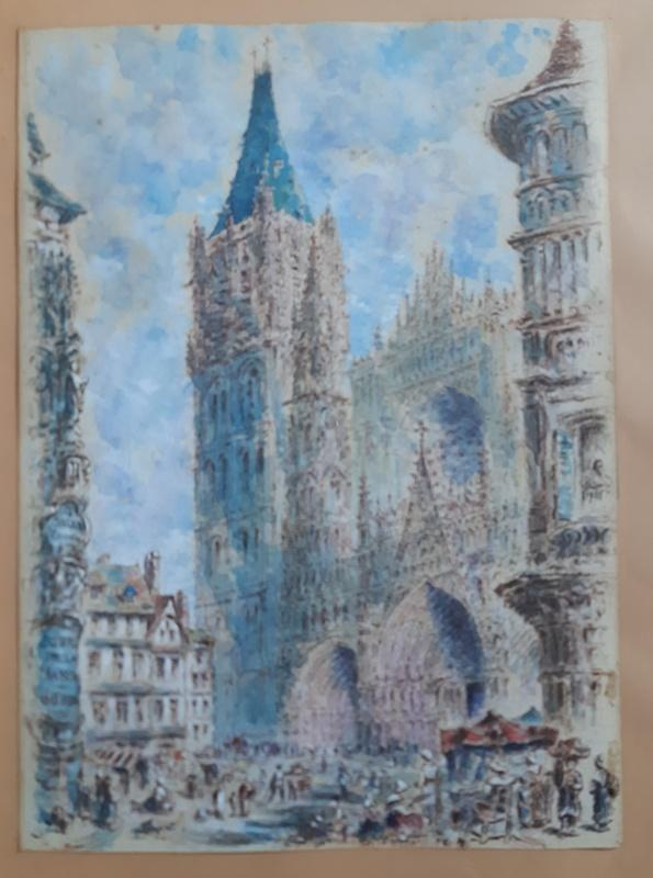 Rouen Cathedral And Its Square Animated Drawing In Watercolor And Gouache-photo-2