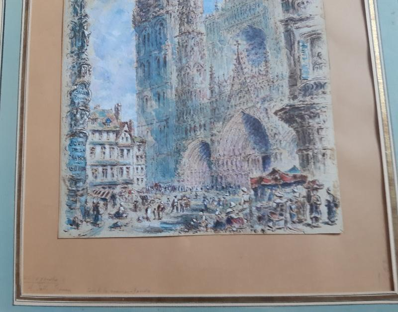 Rouen Cathedral And Its Square Animated Drawing In Watercolor And Gouache-photo-3