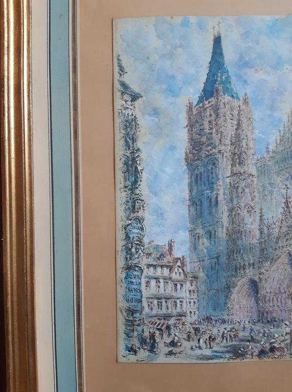 Rouen Cathedral And Its Square Animated Drawing In Watercolor And Gouache-photo-4