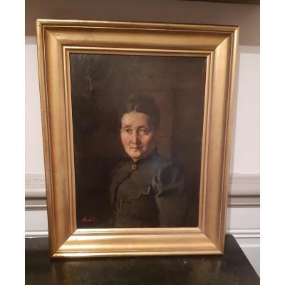 Jean Antoine Bail (1830 - 1919) Portrait Of Woman In Chiaroscuro