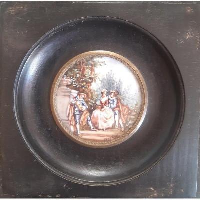 Miniature In Gouache Representing A Pastoral Gallant Scene