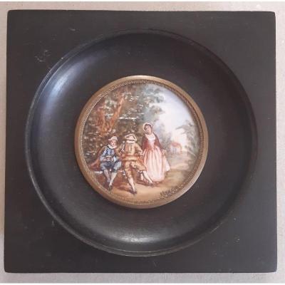 Miniature In Gouache Representing A Pastoral Gallant Scene (2)