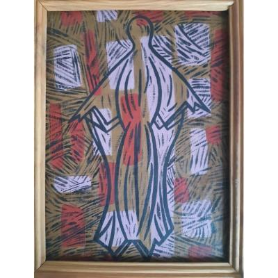 """Abstraction """" vierge """" par Jacques Meunier vers 1960 tableau abstrait"""