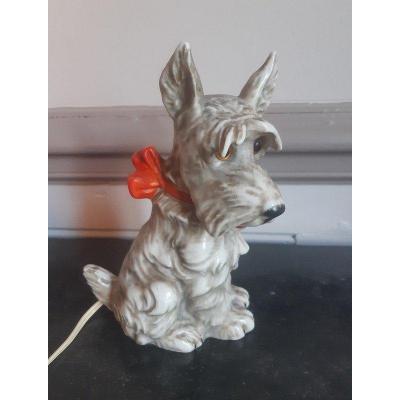 Veilleuse Chien Au Noeud Rouge Scottish Terrier écossais En Porcelaine