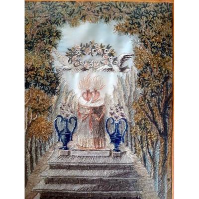 Broderie De Mariage En Soie Aux Coeurs Enflammés Et Guirlande De Fleurs d'époque Empire Restauration début XIXème siècle