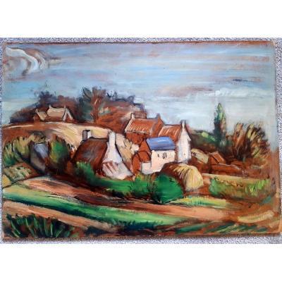 Tableau Huile Sur Isorel Vue d'Un Charmant Hameau Dans La Campagne époque Art Déco Vers 1930-1940