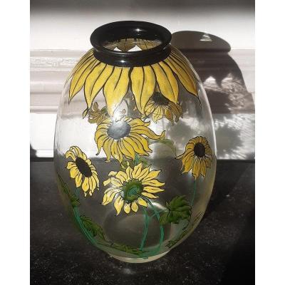 Rare Vase Aux Tournesols Cristallerie De Pantin Art Nouveau