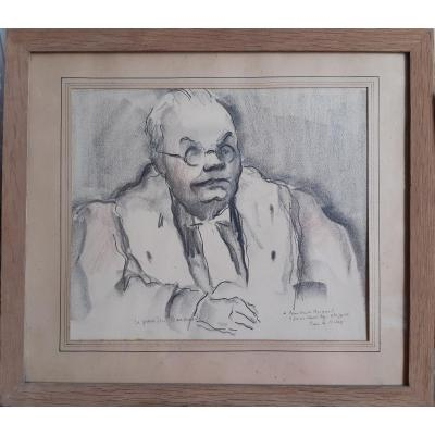 Pierre De Belay (1890-1947) Portrait Du Président Barnaud Au Procès Stavisky