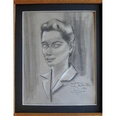 Portrait d'Une Jeune Femme Dessin Au Fusain Paris Montmartre  Place du Tertre Années 1960