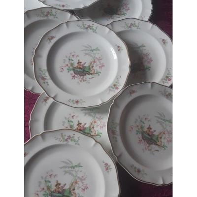 Former Royal Factory Beautiful Suite Of 12 Limoges Porcelain Dessert Plates With Decor Au Chinois