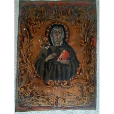 Sainte Claire d'Assise Huile Sur Cuivre Du Début Du XVIIIème Siècle