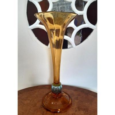 Grand Vase Cornet Legras En Verre Soufflé Jaune Antique De 50 Cm Création Pour l'Exposition Universelle de Paris  de 1889