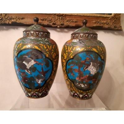 Important Pair Of Vases Covered Potiches Cloisonne Vase In Cloisonne Enamel From Japan Period Meiji