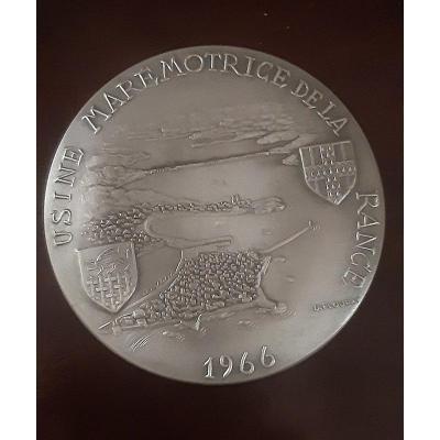 Médaille Usine Marémotrice Barrage De La Rance 1966 Bronze Argenté Flourat Entre Saint Malo Et Dinard