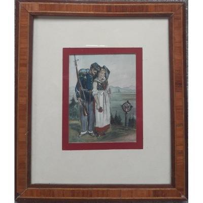 Portrait d'Un Jeune Couple d'Alsaciens Estampe Aquarelle XIXème Siècle