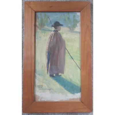 André-eugène Costilhes (1865-1940) Little Shepherd Shepherd In The Hat Oil On Canvas