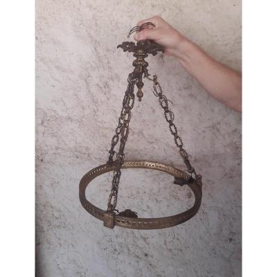 Monture De Suspension Lustre Vasque En Bronze Doré Avec Sa Chaîne Et Son Cache Bélière