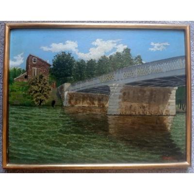 Ravissant Petit Tableau Peinture Pont Métallique Sur La Seine Et Maison De Briques