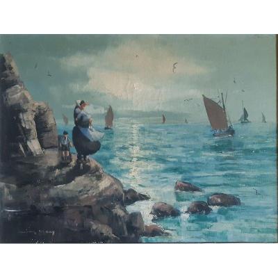 Retour De Pêche En Bretagne Côte Rocheuse Bord De Mer Huile Sur Toile Tableau Peinture Marine