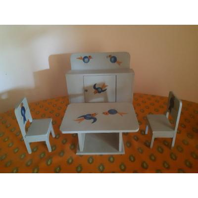 Doll Furniture Doll Furniture Lacquered Wood Painted Stencil Art Deco Period 1925