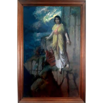 Paul Edouard Rosset Granger (1853-1934) Grand Tableau Huile Sur Toile Symboliste à l'Antique Art nouveau représentant Sappho