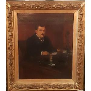 Marcel Arnaud (1877-1956) tableau Intimiste Portrait D'homme De Qualité à Son Bureau 1917