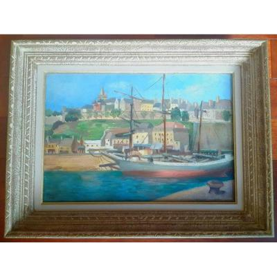 Jeanne Besnard-fortin (1892-1978) Oil On Canvas Marine The Port Of Granville Normandy Cotentin