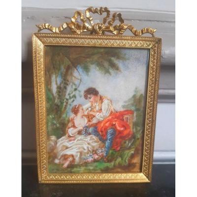 Ravissante Miniature à La Gouache d'Une Jeune Femme Et d'Un Jeune Homme Couple Scène Galante