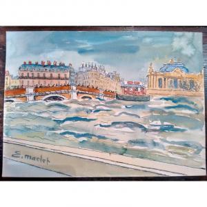Elisée Maclet (1881-1962) Aquarelle Paris Crue De La Seine