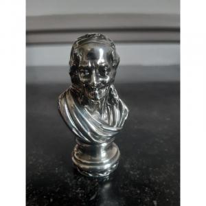 Match Holder And Pyrogen In The Shape Of A Voltaire Bust In Silver Or Silver Metal
