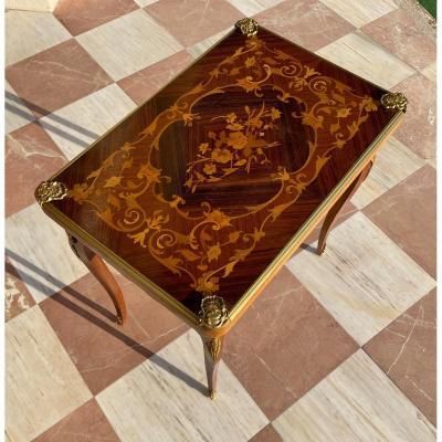 Table de jeu en marqueterie de bois