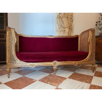 Lit Corbeille/lit De Repos Canné Et Velours Rouge De Style Louis XVI
