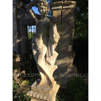 Statue Jeune Fille à La Lyre
