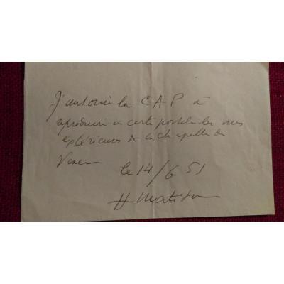 Lettre Autographe Henri Matisse