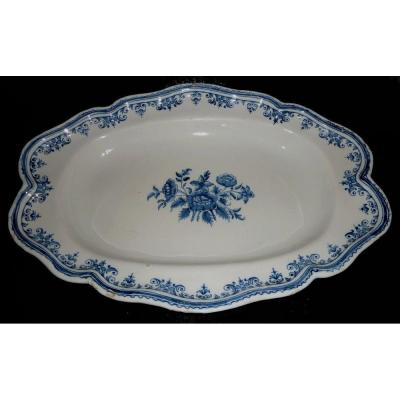 Moustiers 18em Oval Dish Floral Decor Shades Of Blue.