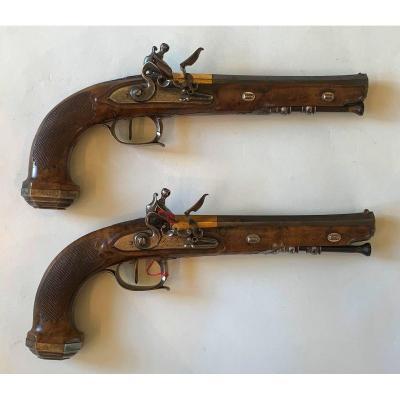 Paire De Pistolets d'Officier 1er Empire