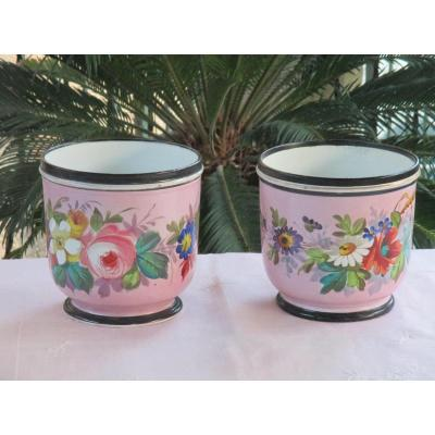 Cache Pots Pair Of Paris Porcelain