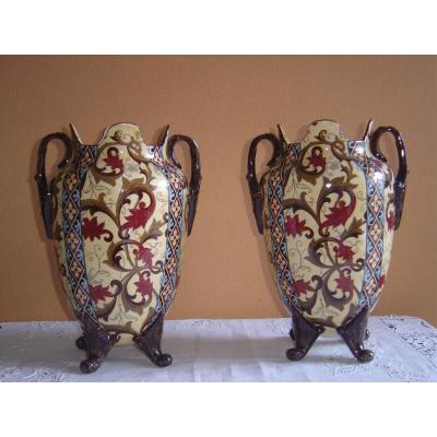 Paire De Vases En Faience De Gien