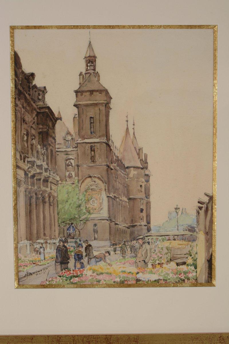 Marché aux Fleurs devant la Conciergerie  - Marcel BRIMEAU 1889-1990