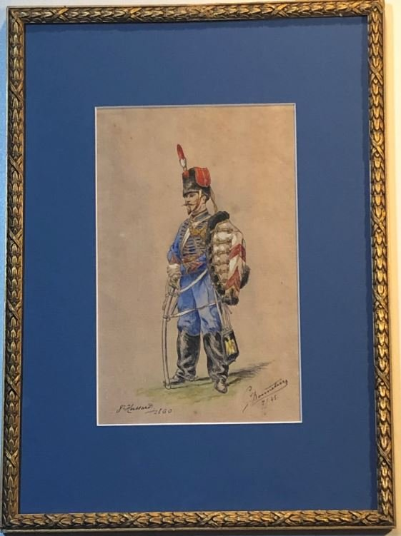 8ème Hussard 1860, Aquarelle - G Bonneterre Fin XIXème 1969